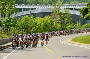 Cruising along the Niagara Parkway section (Photo from GranFondo Canada)