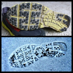 The FluidFlex Sole and the mark it leaves behind.