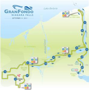 The official GranFondo Niagara Falls route (click link to go to detailed pdf)